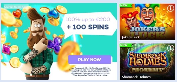 100% bonus and 100 free spins on slots