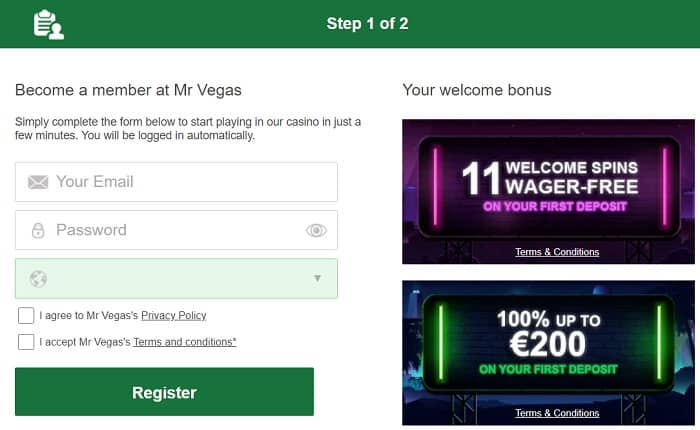 Join Mr Vegas and get 11 wager free spins