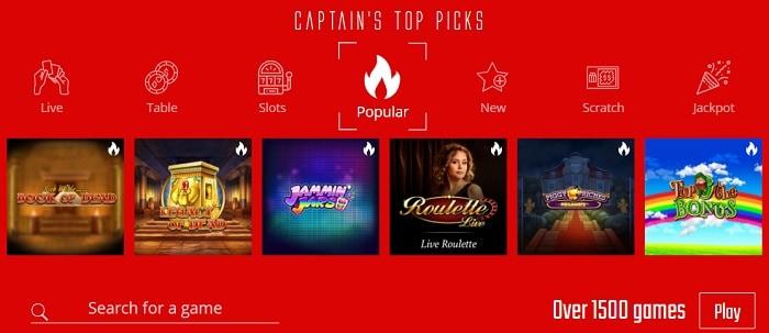 Captain's Casino Games