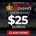 7Kings Casino 100% bonus + 300 free spins + $25 free bet