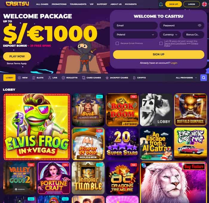 Get $1000 and 25 free spins!