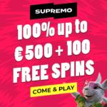 Supremo Casino 100 free spins and 100% up to €500 bonus